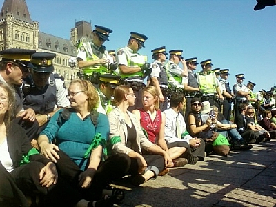 Keystone XL pipeline protesters at the sit-in on Parliament Hill.