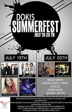 Poster: Dokis Summerfest music festival and softball tournament