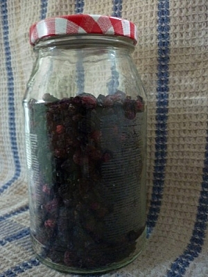 Jar of dehydrated black currants.