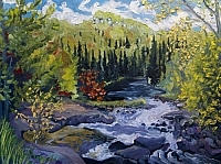 Thompson Rapids, Magnetawan River (Reproduction of the painting by Pierre AJ Sabourin).