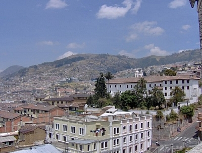 View of Quito's sloping streets from the Basilica del Voto Nacional.