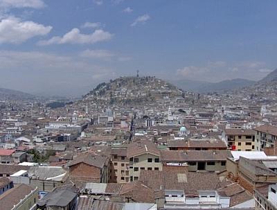 View of El Panecillo, Quito, from the Basilica del Voto Nacional.