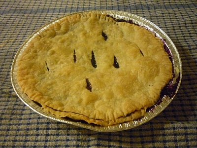 Vegetarian pie baking with blueberries.