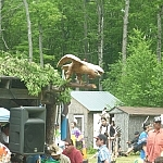 French River area outdoor summer events include the Dokis First Nation Powwow, where this wood-carved eagle was seen.