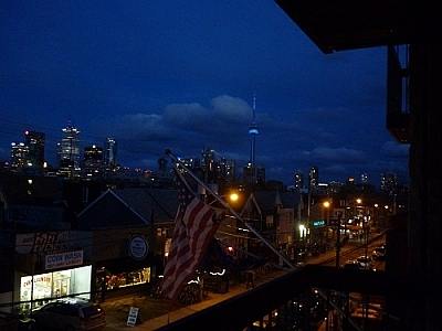 Our base for backcountry gear shopping in Toronto offered up this great view of downtown and the CN Tower.