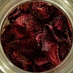 Dehydrated strawberries in a glass jar.