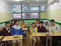 Korean students in English class at a private school in Busan.