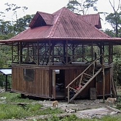 Hacienda-style volunteer house at Merazonia Animal Reserve, Ecuador.