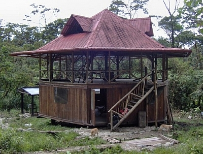 Hacienda-style volunteer house at Merazonia Animal Reserve.