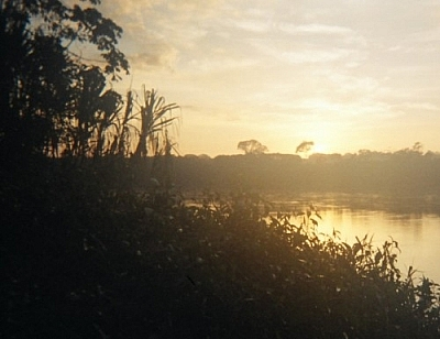 Sunrise over the Tambopata River before a dawn hike, hoping for wildlife sightings at Picaflor Research Centre.