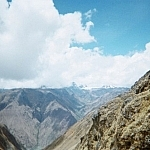 Scenic landscape view of the Andes Mountains from the Inca Trail, Peru