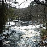 A stream as seen from a bridge at Arrowhead Provincial Park.