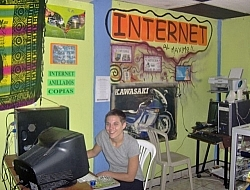 Sitting at a Coffeenet computer in Shell, Ecuador.