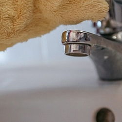Eco-friendly bathroom cleaning starts with the sink.