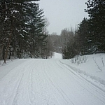 Boisvenue Trail in winter is actually the snowmobile trail.