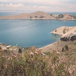 View of Lake Titicaca from Isla del Sol, Bolivia.