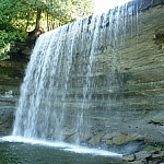 Close view of the thinly falling, widely-spread Bridal Veil Falls in Kagawong on Manitoulin Island
