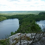 Panoramic view of all the Brush Lakes from Bear Mountain
