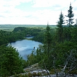 A spectacular view of the Brush Lakes from Bear Mountain in Mississagi Provincial Park.
