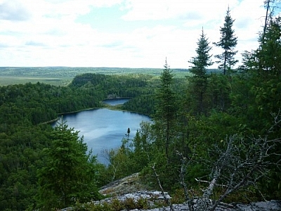 Spectacular view of the Brush Lakes while backcountry tripping in Mississagi Provincial Park.