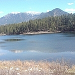 Mountain and lake scenery from the Campbell Myer Rest Area.