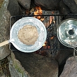 Campfire cooking at Dokis First Nation