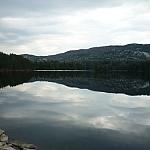 Killarney mountains reflected on Boundary Lake.