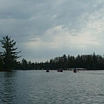 A group of paddlers ahead of us on David Lake in Killarney Provincial Park.