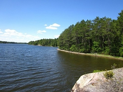 View of Lake Nipissing from the Coastal Trail in Mashkinonje Provincial Park, French River area.