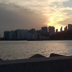 Sunset behind the Port of Dadaepo in Busan, South Korea.