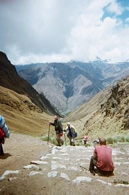 View from the highest mountain pass while hiking the Inca Trail to Machu Picchu on Day 2.