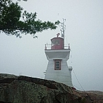 Close-up view of Killarney's East Lighthouse.