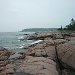 A pink granite shoreline on Tar Vat Bay Trail.