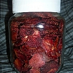 Dehydrated strawberries in a jar