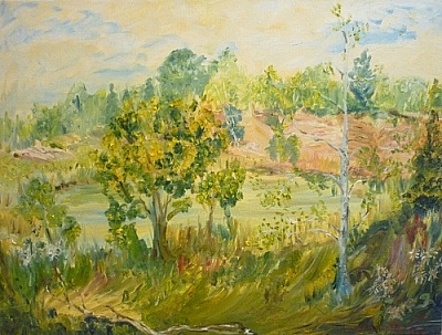"Painting by Denise Pitre, titled ""Mashkinonje"""