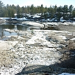 Rapids along the French River seen while spring day hiking at Dokis First Nation.