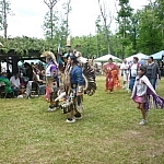 Dancers in regalia at the Dokis First Nation powwow.
