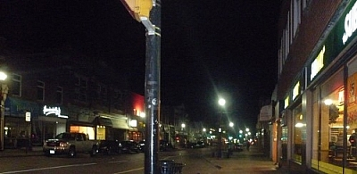 Nighttime view of Main Street.