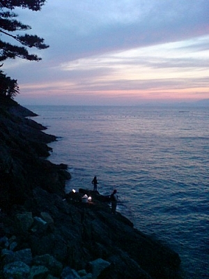 Observed people fishing at sunset one evening while exploring Yokji Island