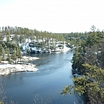 Scenic view of the French River seen while spring day hiking at Dokis First Nation.