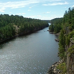 View of the French River Gorge from the bridge at the Visitors Centre