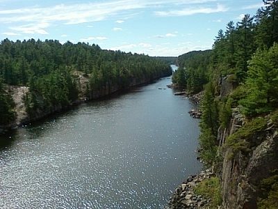 Paddling dreams of the French River Gorge, viewed from the bridge at the Visitors Centre