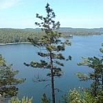 View of Gull Lake from atop a cliff.