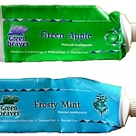 Green Beaver toothpaste (green apple and frosty mint flavours)