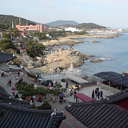 Overlooking the seaside temple complex at Haedong Yonggungsa.