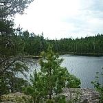 Lakeside view seen while day hiking Hawk Ridge Trail, north of Sudbury.