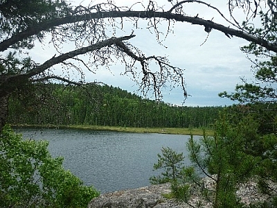 Lake scenery while day hiking Hawk Ridge Trail at Halfway Lake Provincial Park.