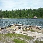 Campsite firepit at Halfway Lake Park.