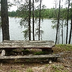 Wooden table at a backcountry campsite at Halfway Lake Provincial Park.