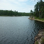 Rockly lake coastline along Hawk Ridge Trail.